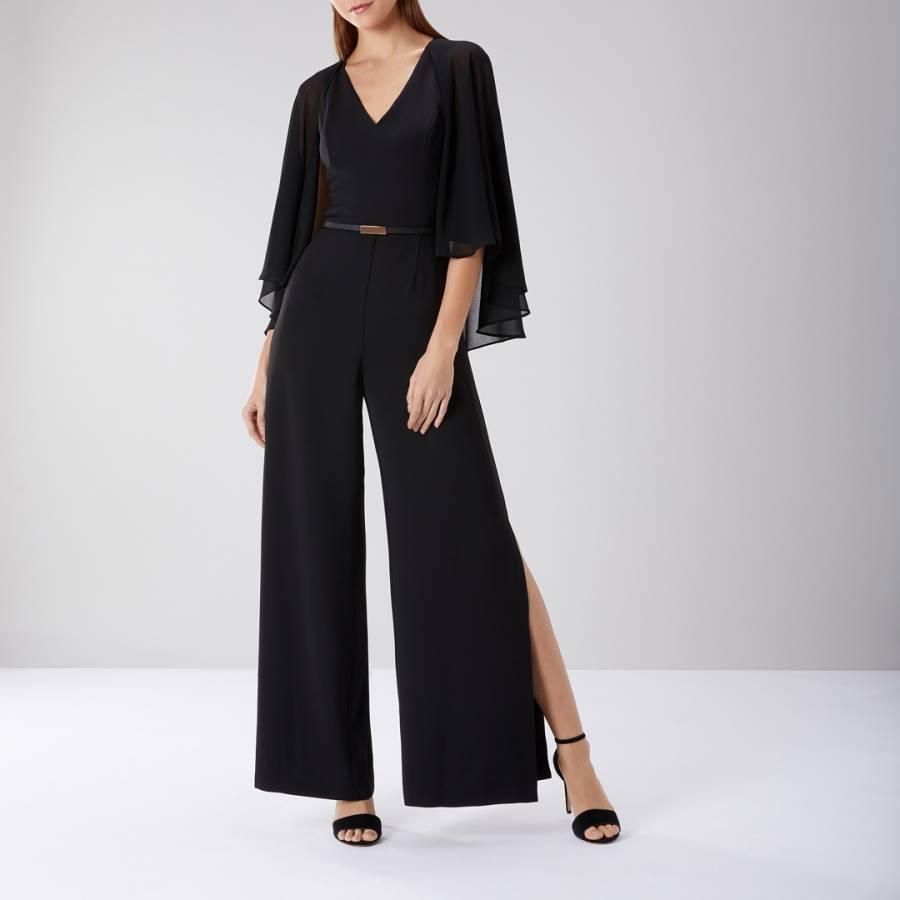 ccbfadf920 Black Mari Cape Sleeve Jumpsuit - BrandAlley