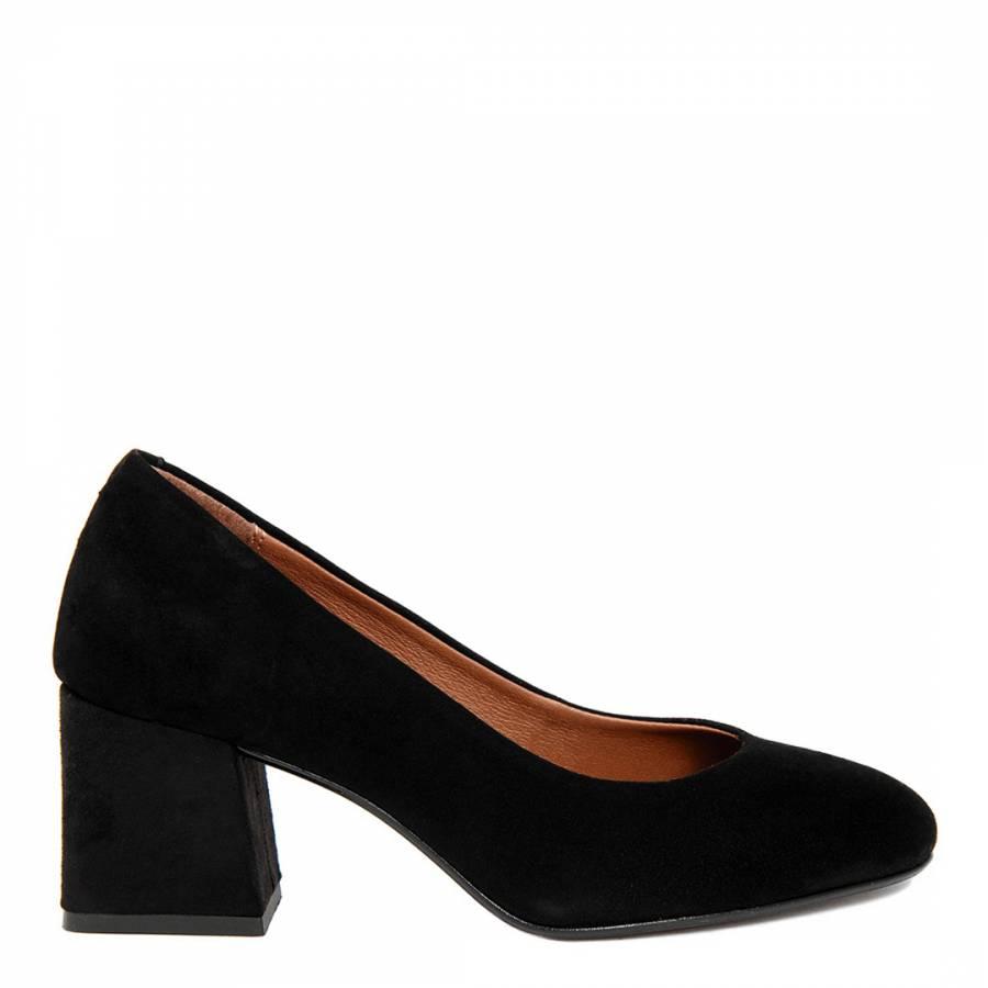 fd804c8bae2a3 Black Suede Round Toe Block Heel - BrandAlley