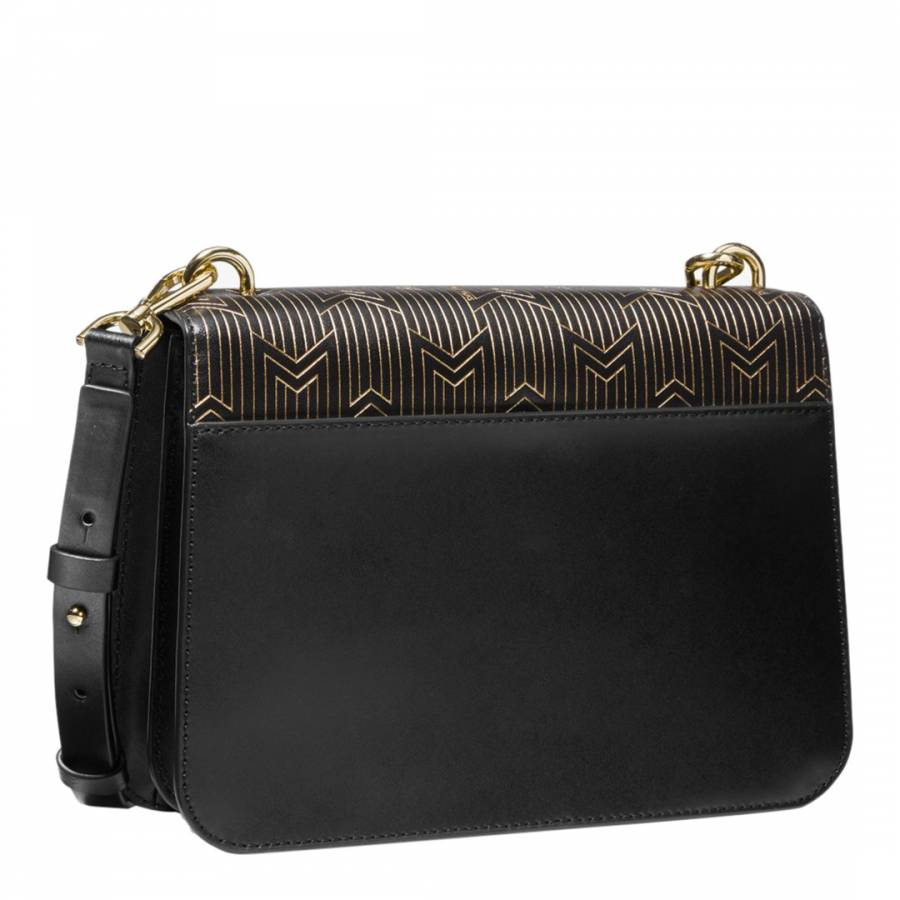 2fbbc8f4afa4e8 Black/Gold Mott Large Metallic Deco Leather Crossbody - BrandAlley
