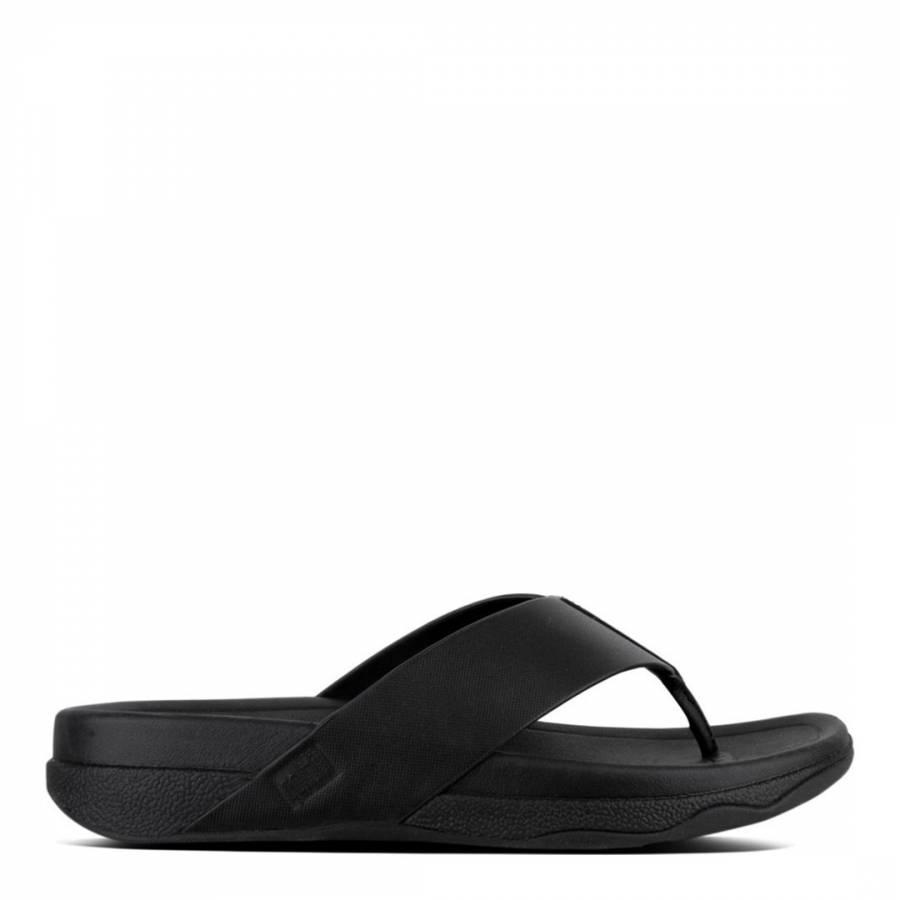 6bf1b8557465 Men s Black Leather Surfer Toe Thong Sandal - BrandAlley