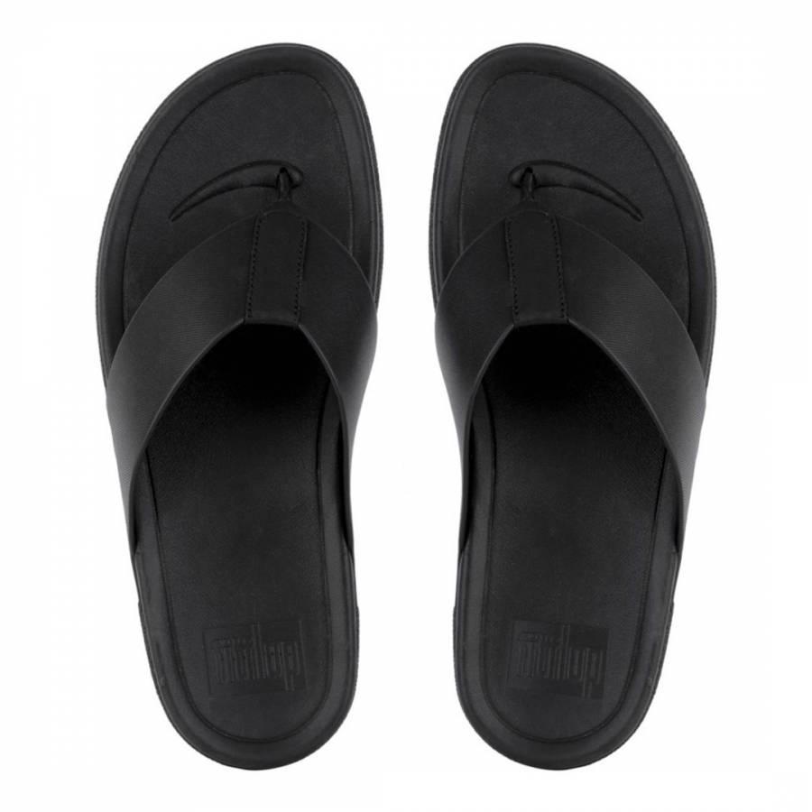 57a6e9e7197b Men s Black Leather Surfer Toe Thong Sandal - BrandAlley