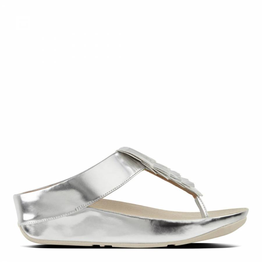 b62341128 Metallic Silver Cha Cha Fringe Sandals - BrandAlley