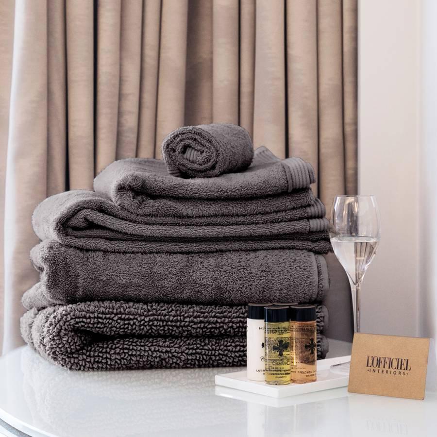 L Officiel Interiors Gigi slate blue cotton gigi set of 3 towels - brandalley