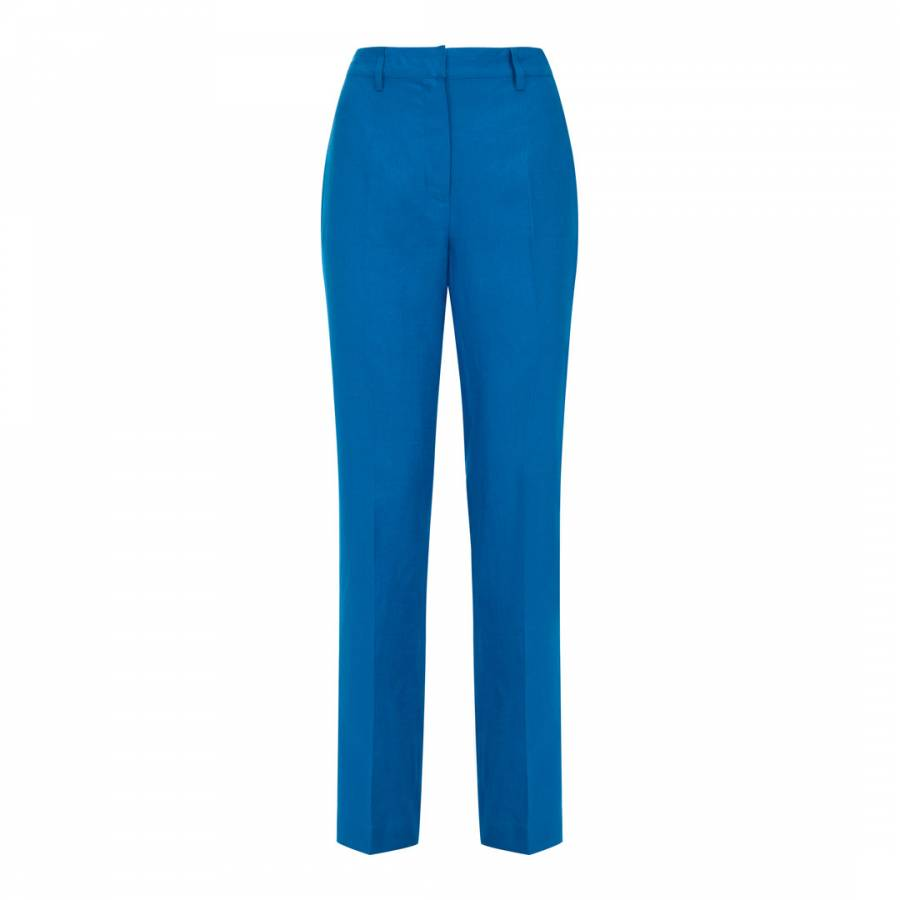 a9234331f6 Blue Linen Parallel Trousers - BrandAlley