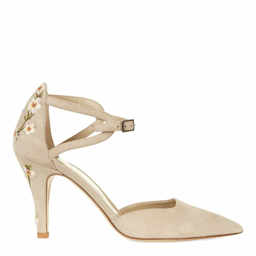 68922984271 Hobbs London. Nude Pink Suede Nora Floral Heeled Shoes