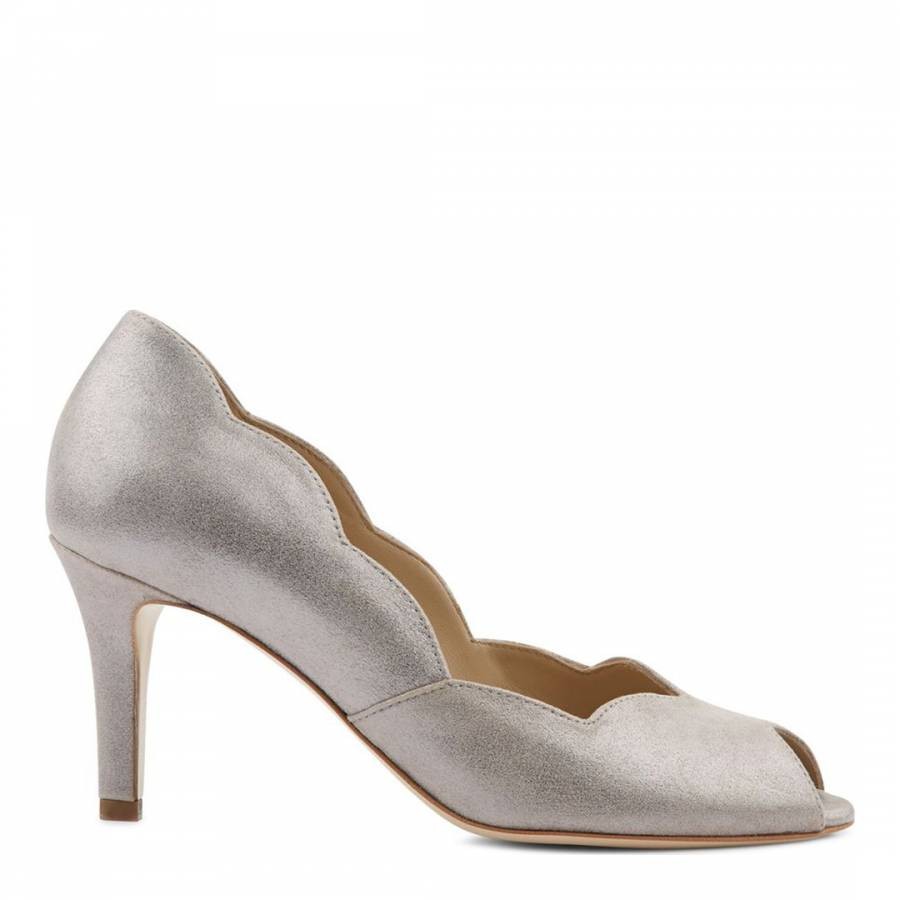 0afbe8f924fa Silver Leather Violet Peep Toe Shoes - BrandAlley