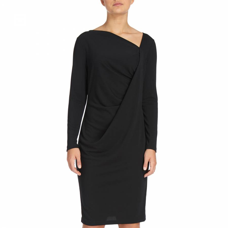 f28ac757ca2 Black Long Sleeve Drape Dress - BrandAlley
