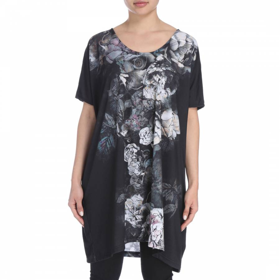 Image of Black/Floral Dinah Long Tee