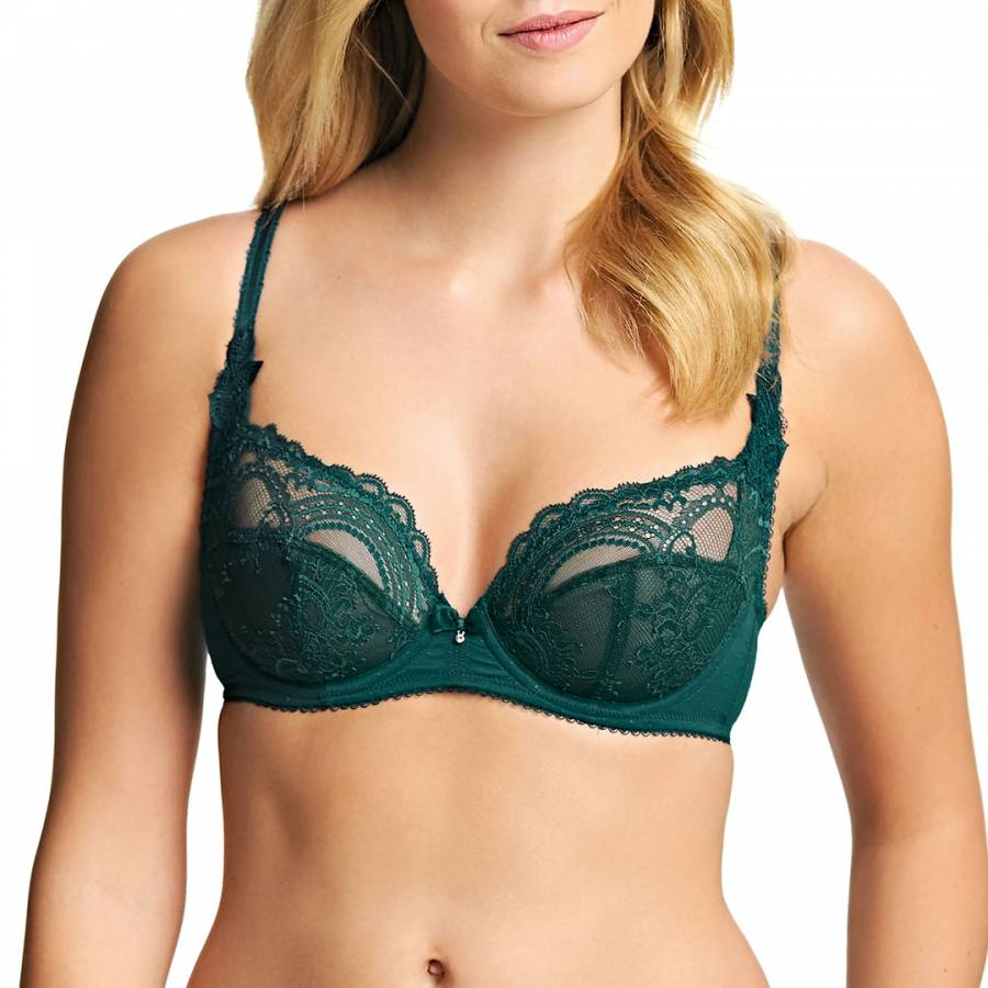 1bbbd346a387c Dark Green Juniper Chrystalle Underwired Balcony Bra - BrandAlley