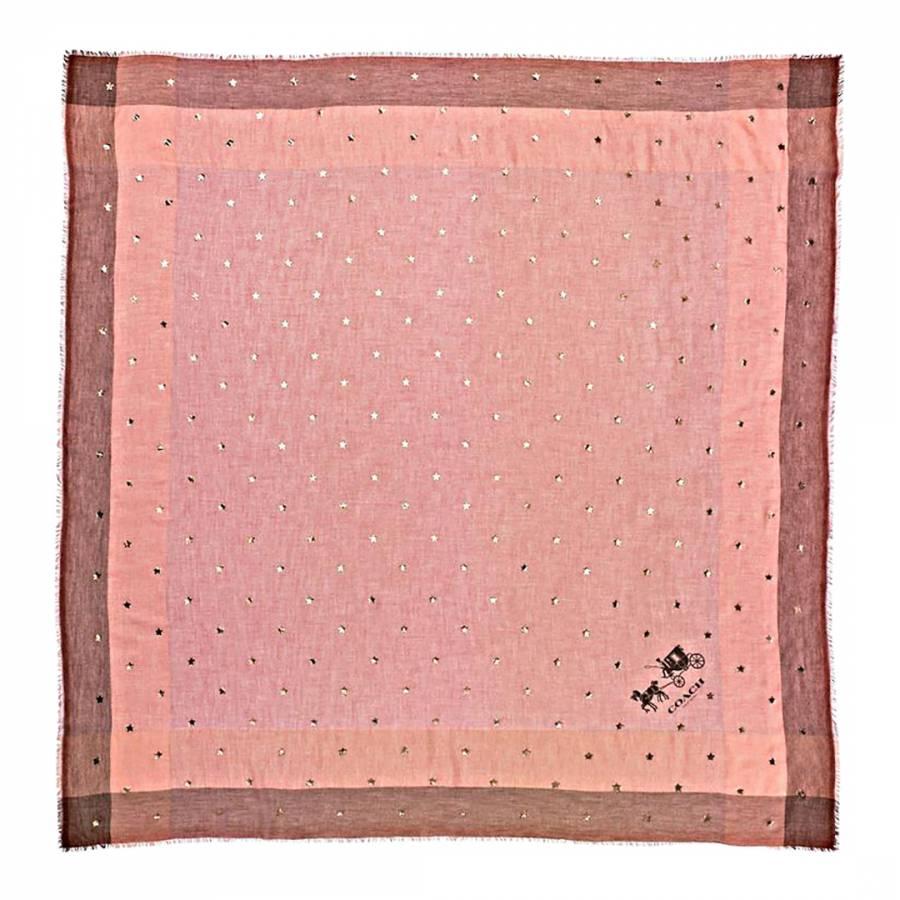 e5dcd267d9 Coach Pale Pink Scattered Stars Foil Print Windowpane Challis Scarf