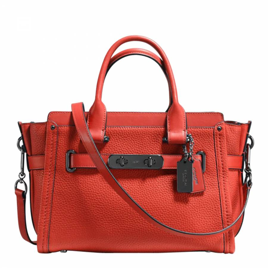 Deep Coral Pebbled Leather Coach Swagger 27 Bag - BrandAlley 6ca527e3ef