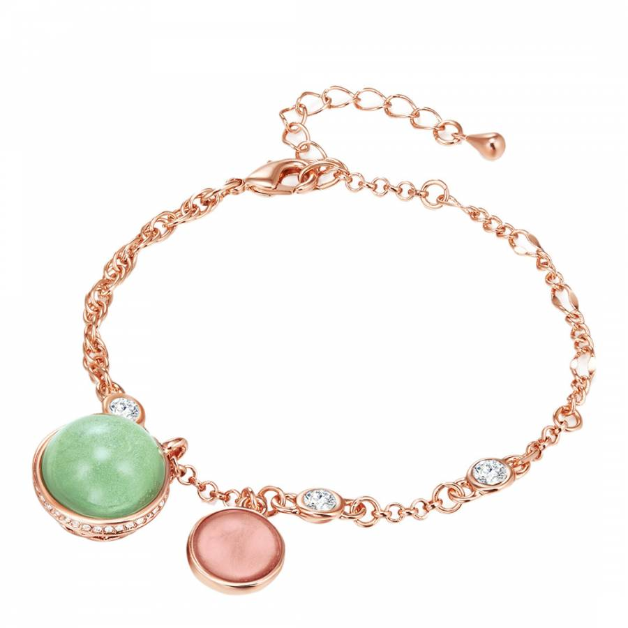 Image of Rose Gold/Green Bracelet Metal Embellished With Crystals From Swarovski