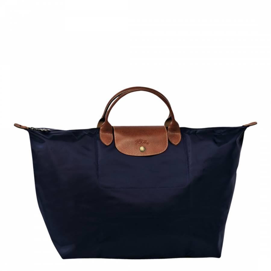 Navy Large Le Pliage Travel Bag