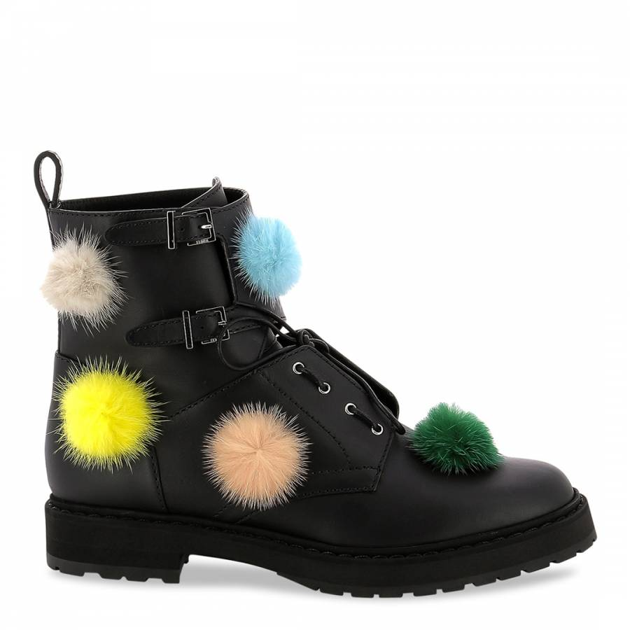 0de9d4cdca7f Black Leather Pom Pom Ankle Boots - BrandAlley