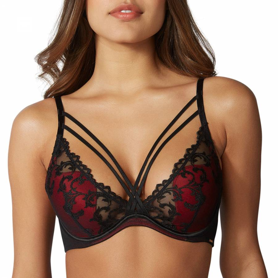 880ffd2a2d Black Red Mix Anoushka Strappy Plunge Bra - BrandAlley