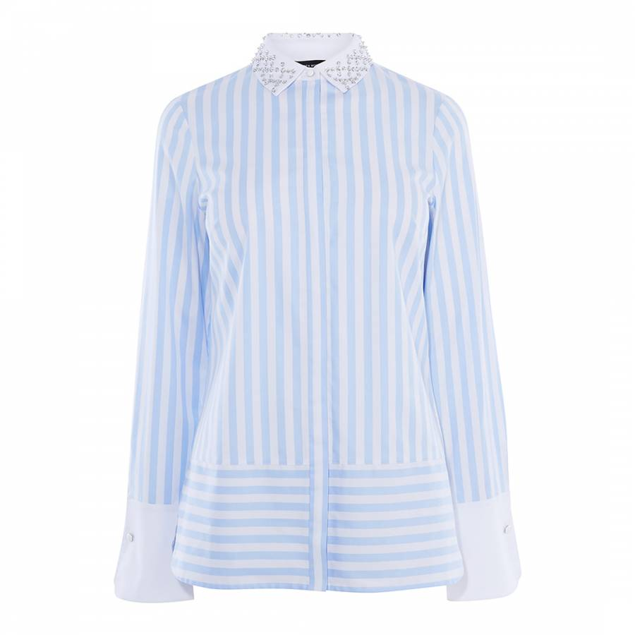 a4ae64a61c0 Karen Millen Blue/Multi Embellished Cotton Shirt