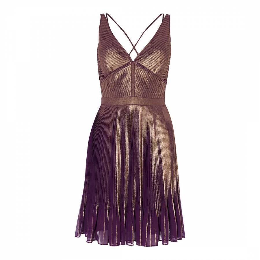 Multicolour Metallic Pleated Dress - BrandAlley
