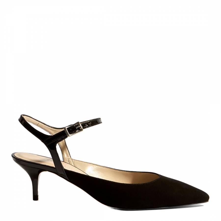 341e0056aa Karen Millen Black Strappy Court Kitten Heels