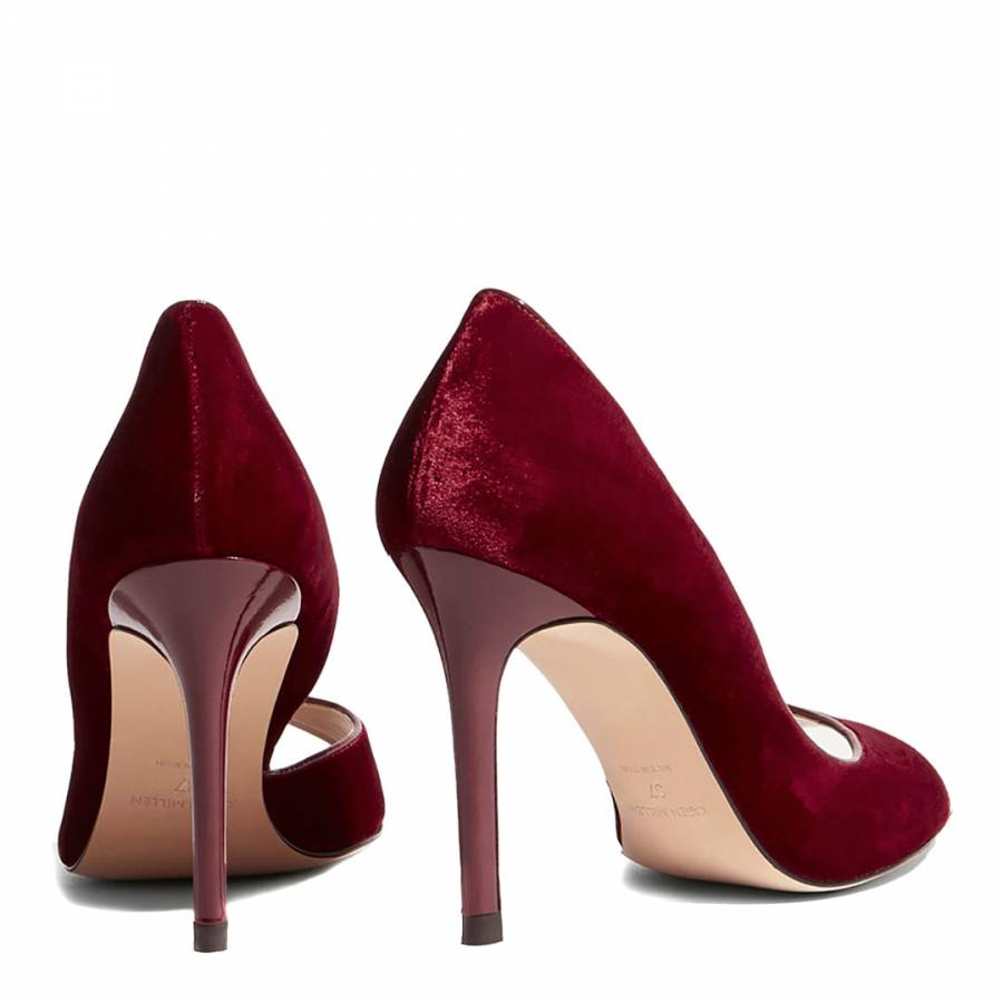 c5b3f76756b Red Velvet Open-Toe Court Heels - BrandAlley