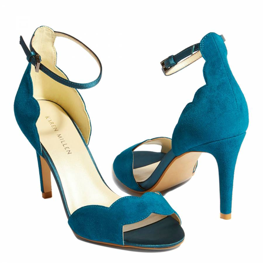 Sandals Teal Suede Teal Scalloped Brandalley HIED29