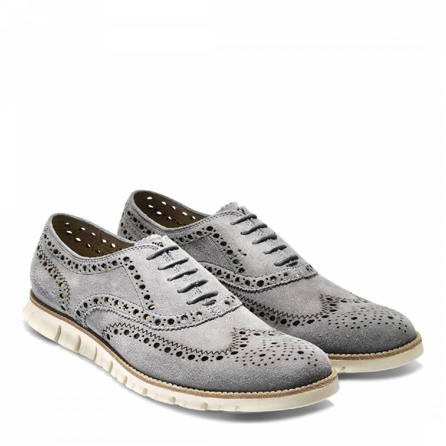 2234b59601a Men's Grey Suede Zerogrand Wingtip Lace Up Oxford Shoe - BrandAlley