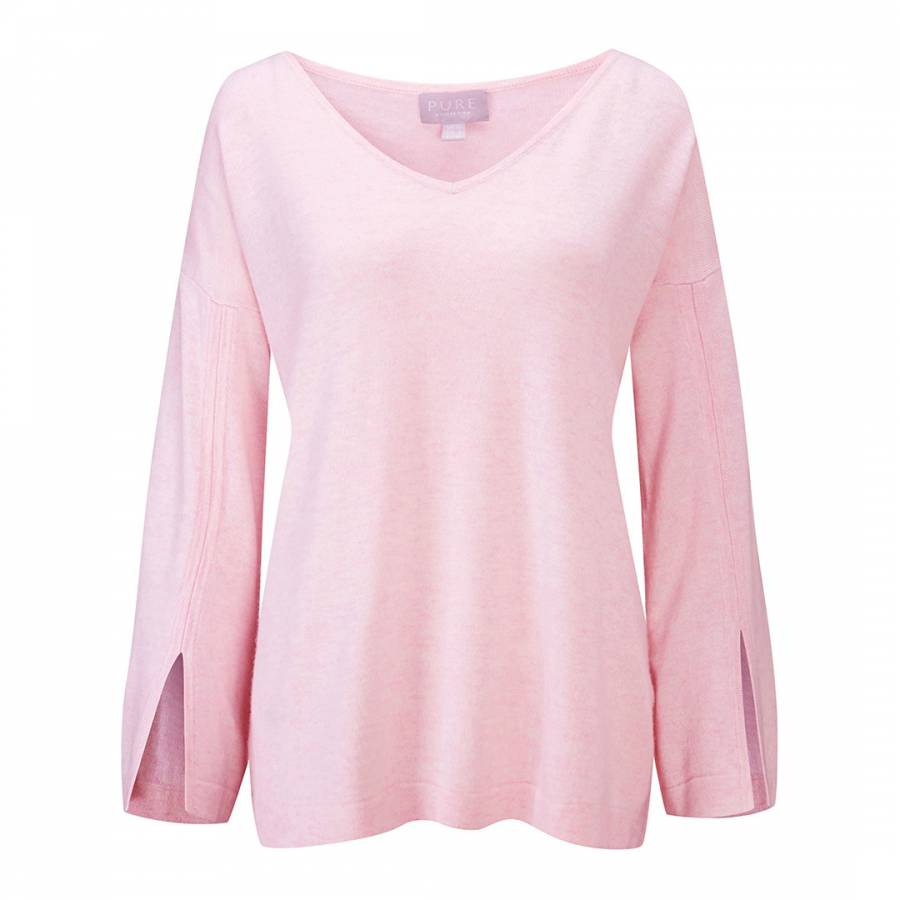 fce79437a484 Pure Collection Rose Mist Split Sleeve Relaxed Jumper
