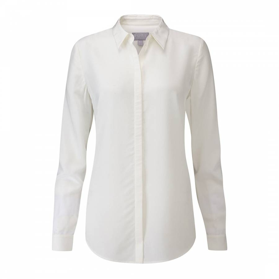 6d9755cbba8fa3 Pure Collection Ivory Relaxed Washed Silk Blouse. prev. next