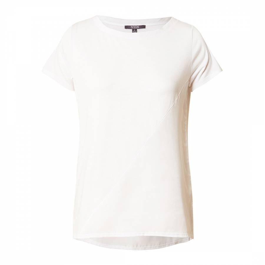 d885aeee199b4 White Mix Media Linen Blend T-Shirt - BrandAlley