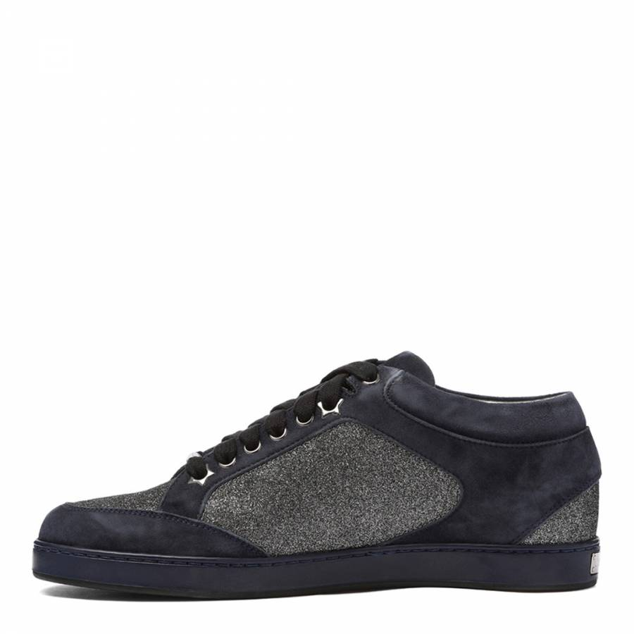 f25a519e7a3 Navy Steel Fine Glitter and Suede Low Top Trainers - BrandAlley