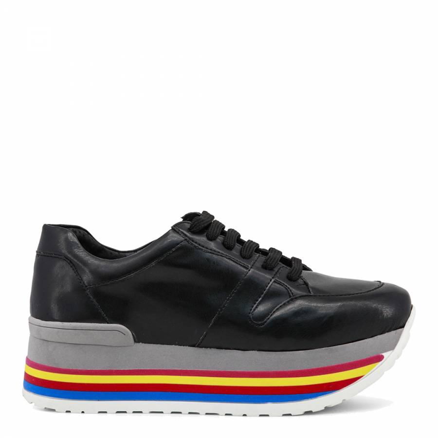 Black Leather Felicia Flatform Sneaker
