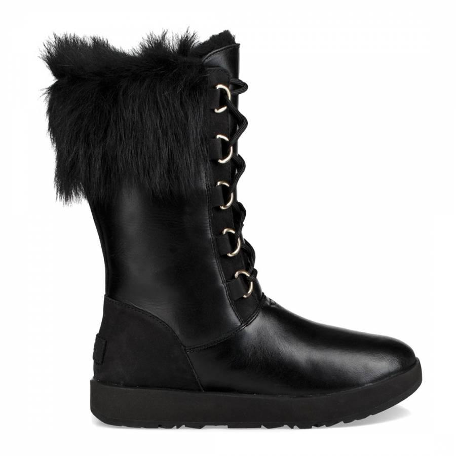 8eb46eeca3a UGG Black Leather Aya Waterproof Boots