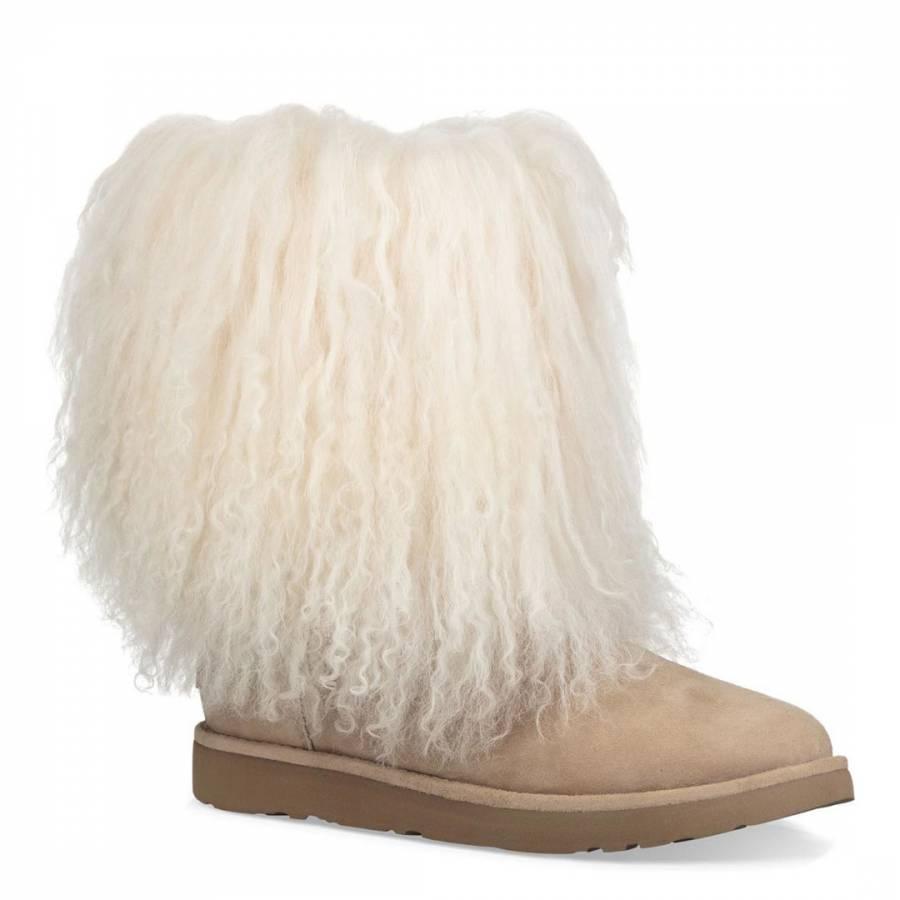 0a22137b44 Natural Shaggy Sheepskin Lida Boots - BrandAlley