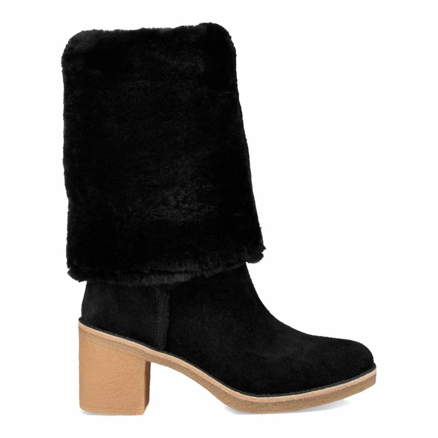c9553bcd7fa Black Sheepskin Kasen Tall Calf Boots - BrandAlley