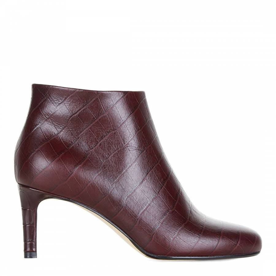 13284b6866f8 Dark Burgundy Leather Lizzy Ankle Boots - BrandAlley