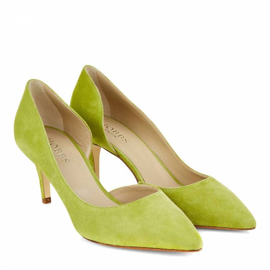 4d1d67e60bf Lime Green Suede Jenna Court Heels - BrandAlley