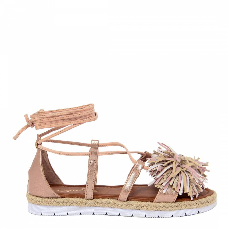 88f9d8873ca Rose Gold Leather Lace Up Pom Pom Sandals - BrandAlley