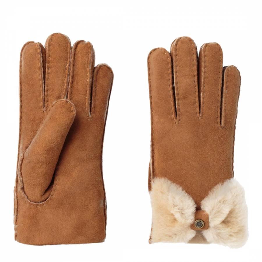 5abccb18703 Women s Chesnut Sheepskin Bow Gloves - BrandAlley