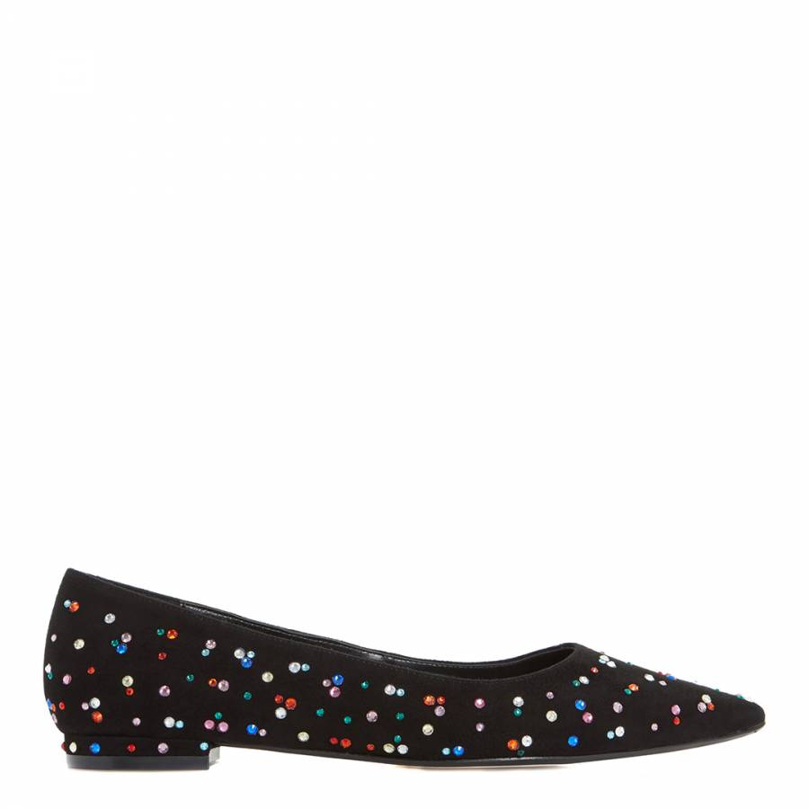 46cb6f2b6a3c Black Suede Blackout Jewelled Flats - BrandAlley