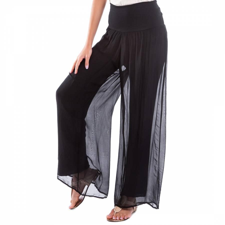 d3b5fedf3d Black High Waist Silk Trousers - BrandAlley