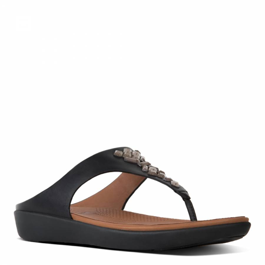 6a8a894d8 Black Leather Banda II Crystal Toe Post Sandals - BrandAlley
