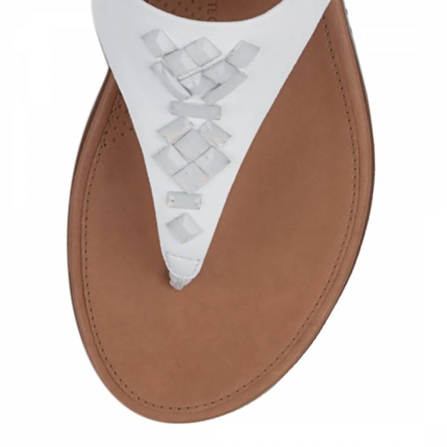 b15bbe077625c Women s Urban White Leather Banda II Crystal Toe Post Sandals - BrandAlley