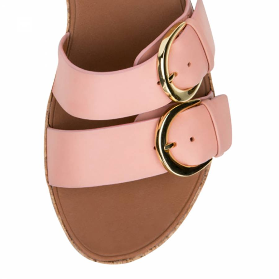 a59ded488291 Women s Dusky Pink Leather Duo Buckle Slides - BrandAlley