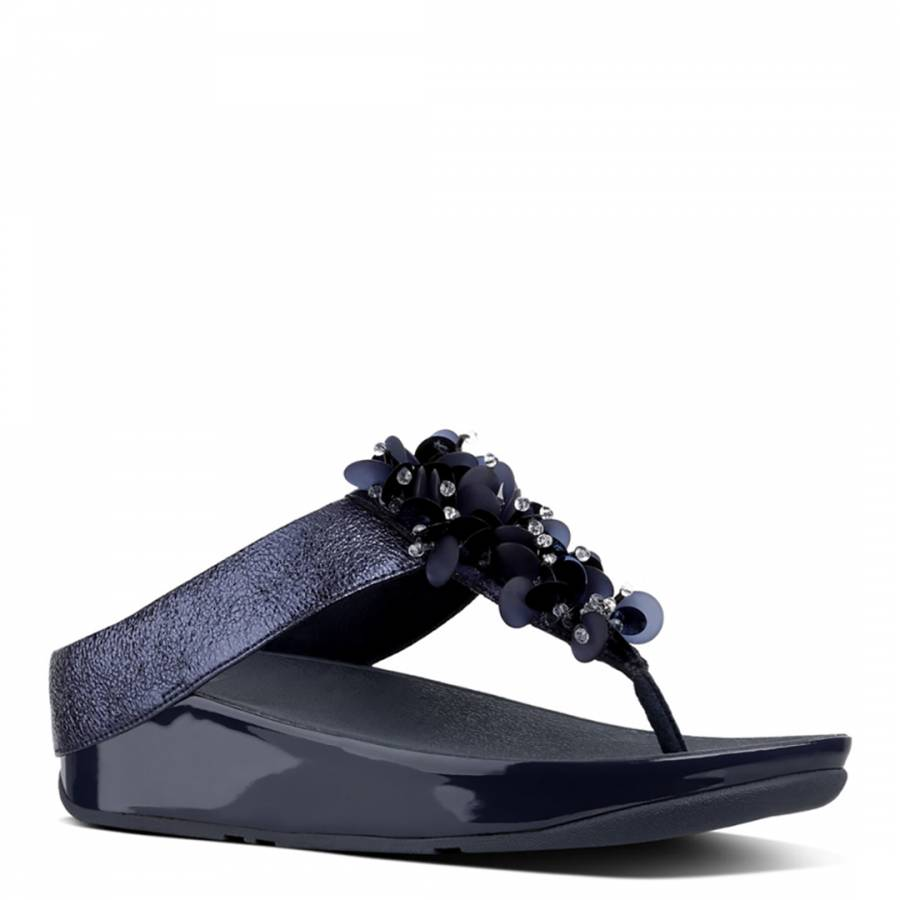 8e89e5af49d043 Women s Navy Leather Boogaloo Toe Post Sandals - BrandAlley
