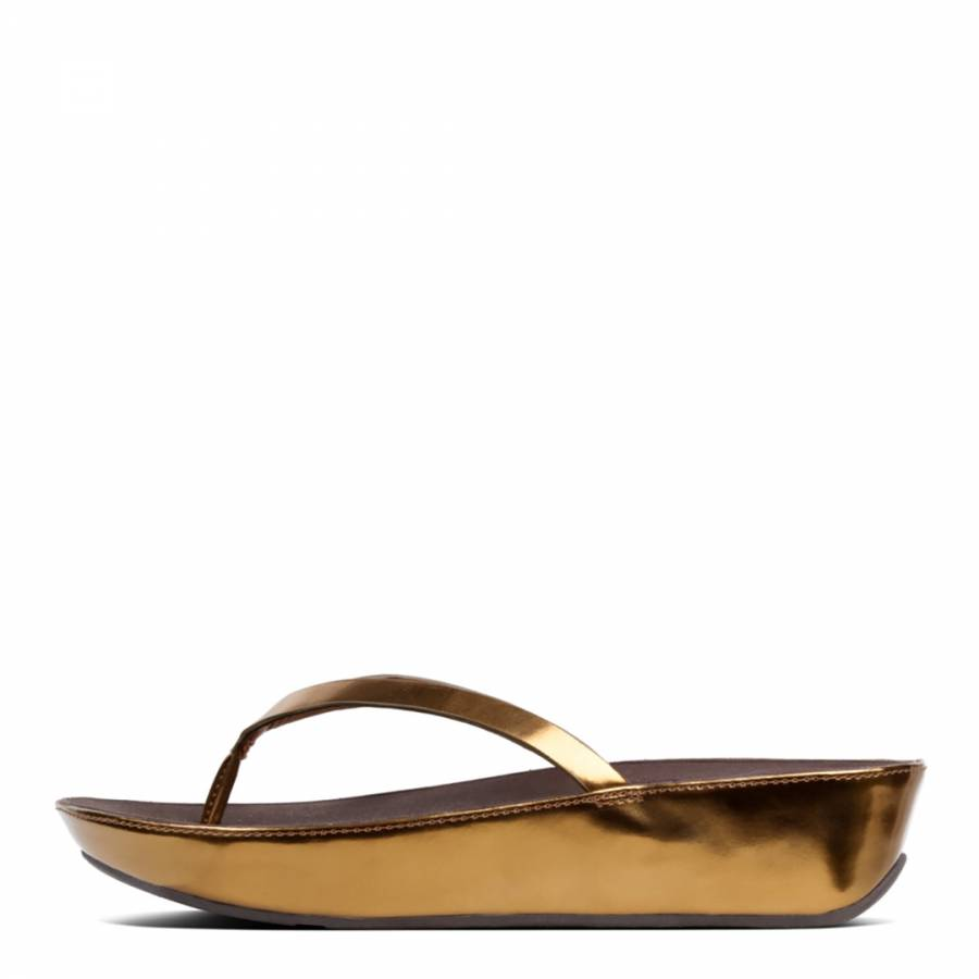 9281c2fd6 Bronze Mirror Leather Linny Toe Post Sandals - BrandAlley