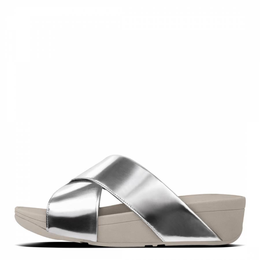 a6a7fbdfe55 Silver Mirror Cross Lulu Slide Sandals - BrandAlley