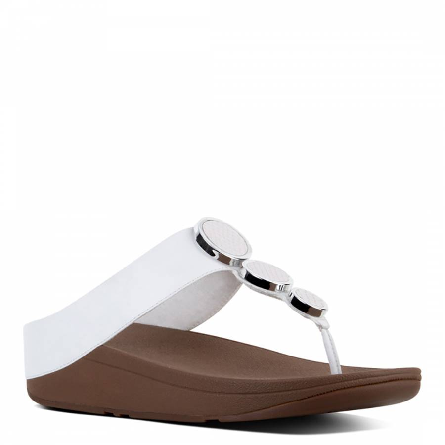 577335267684 Women s Urban White Leather Halo Toe Post Sandals - BrandAlley