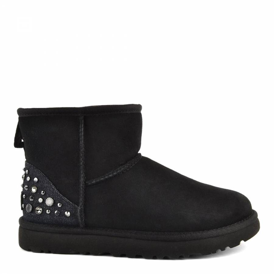 14dfab560a Black Suede Mini Studded Bling Boots - BrandAlley
