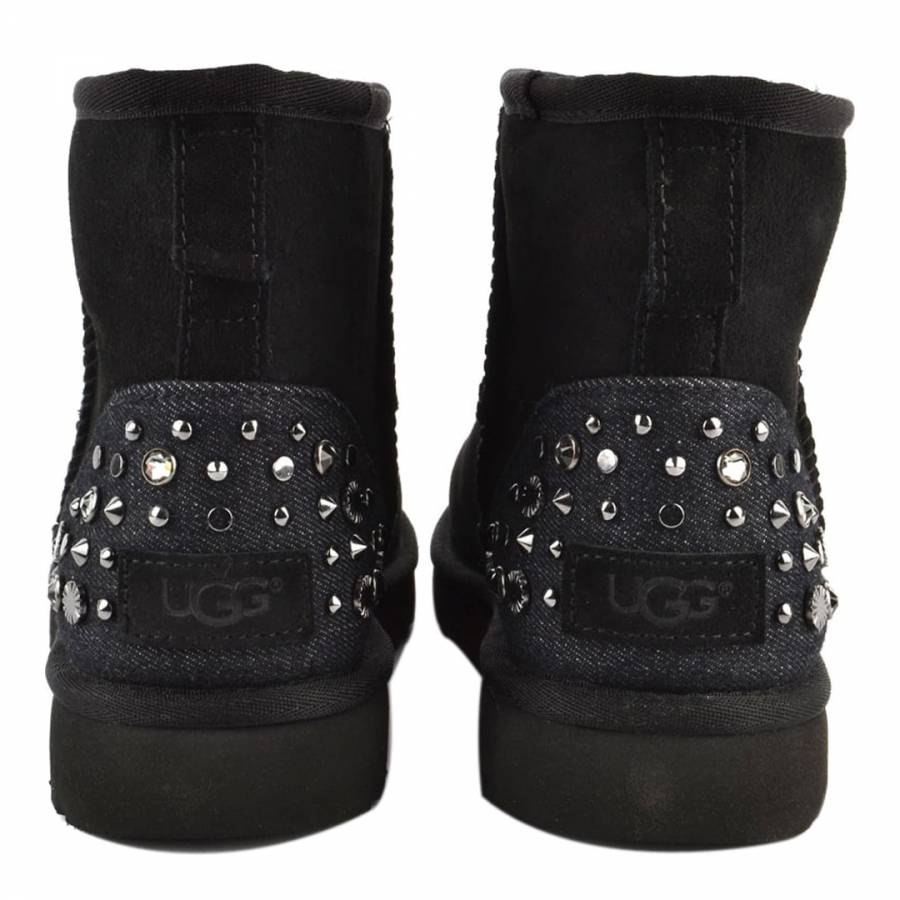 b4200a3b7fe Black Suede Mini Studded Bling Boots - BrandAlley