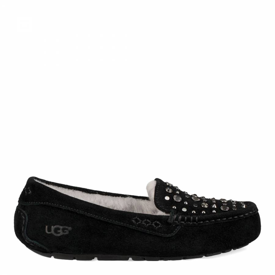 3366a3170d1 UGG Black Suede Ansley Studded Bling Slippers