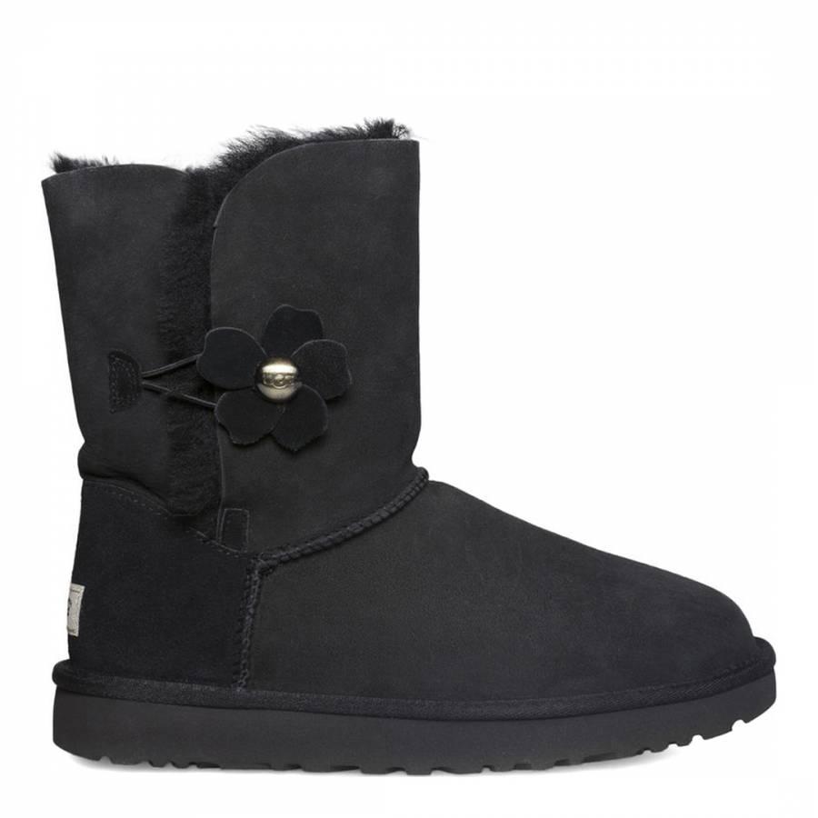 1b5e42f2c16 UGG Black Sheepskin Bailey Button Poppy Boots